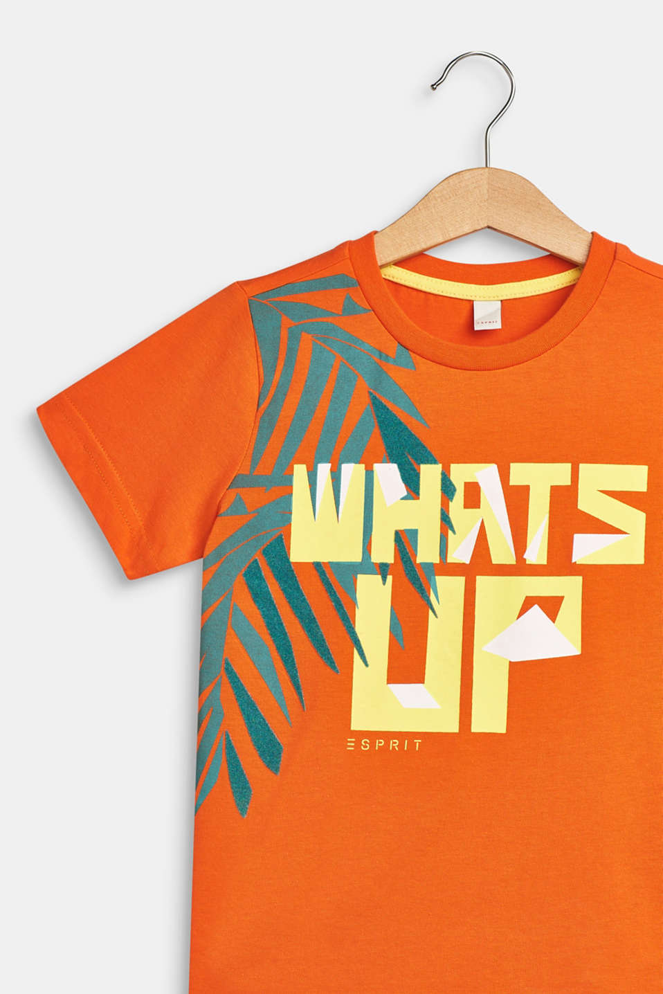 T-shirt with tropical print, 100% cotton, BRIGHT ORANGE, detail image number 2