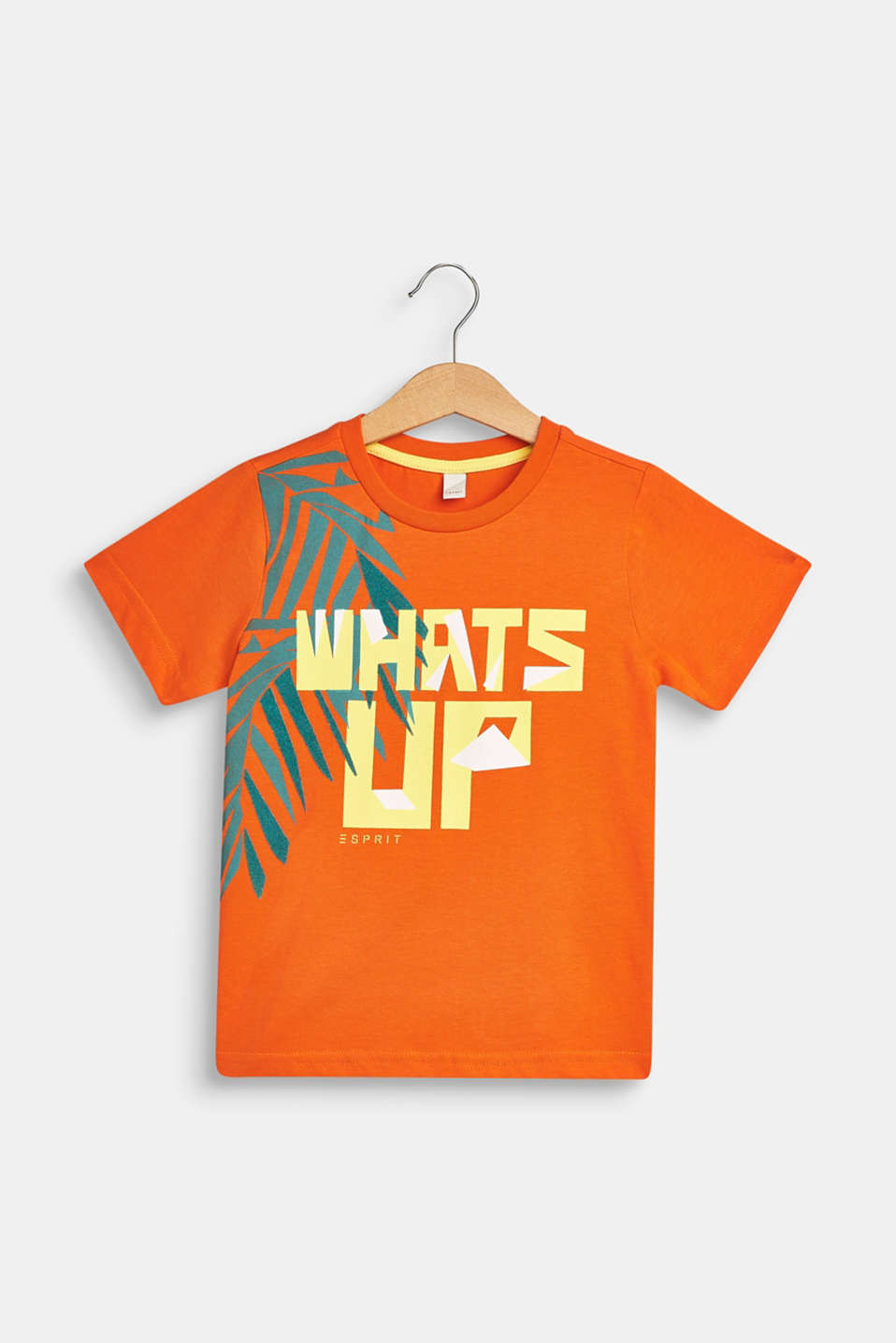 T-shirt with tropical print, 100% cotton, BRIGHT ORANGE, detail image number 0