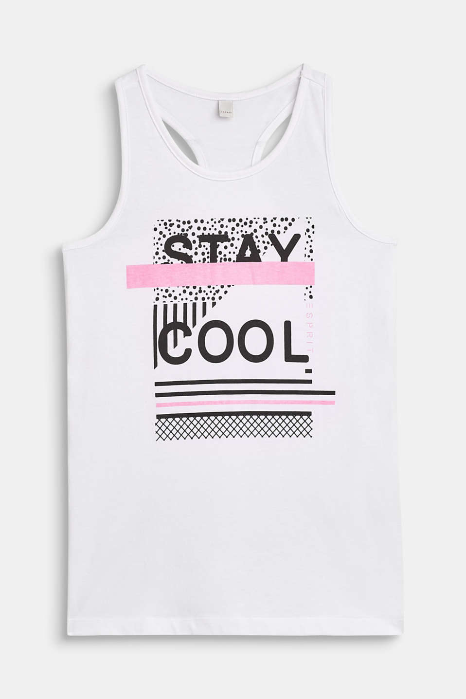 Esprit - Sleeveless top with a slogan print, 100% cotton