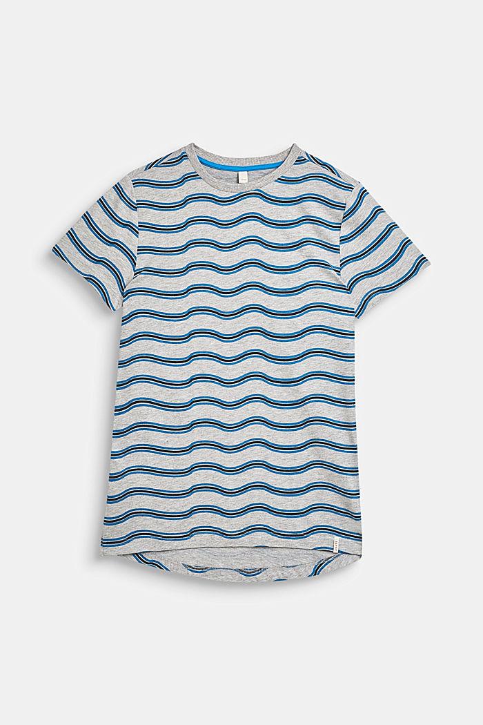 T-Shirt mit Wellen-Print, aus Baumwoll-Mix, LCHEATHER GREY, detail image number 0