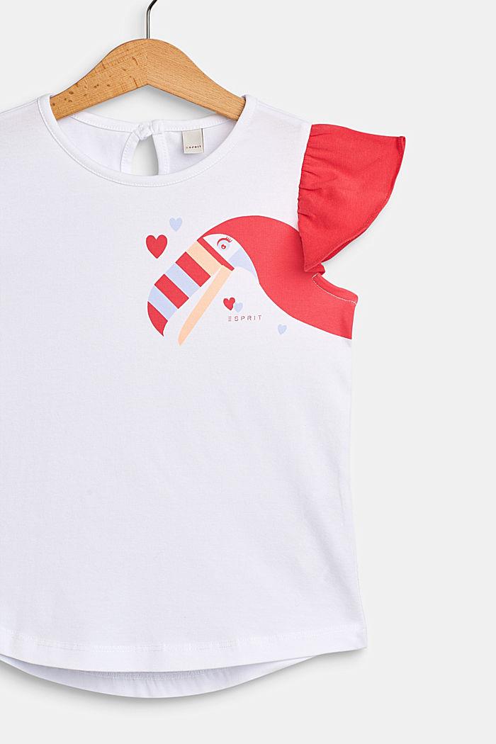 T-shirt me tukan-print, bomuldsstretch, WHITE, detail image number 2