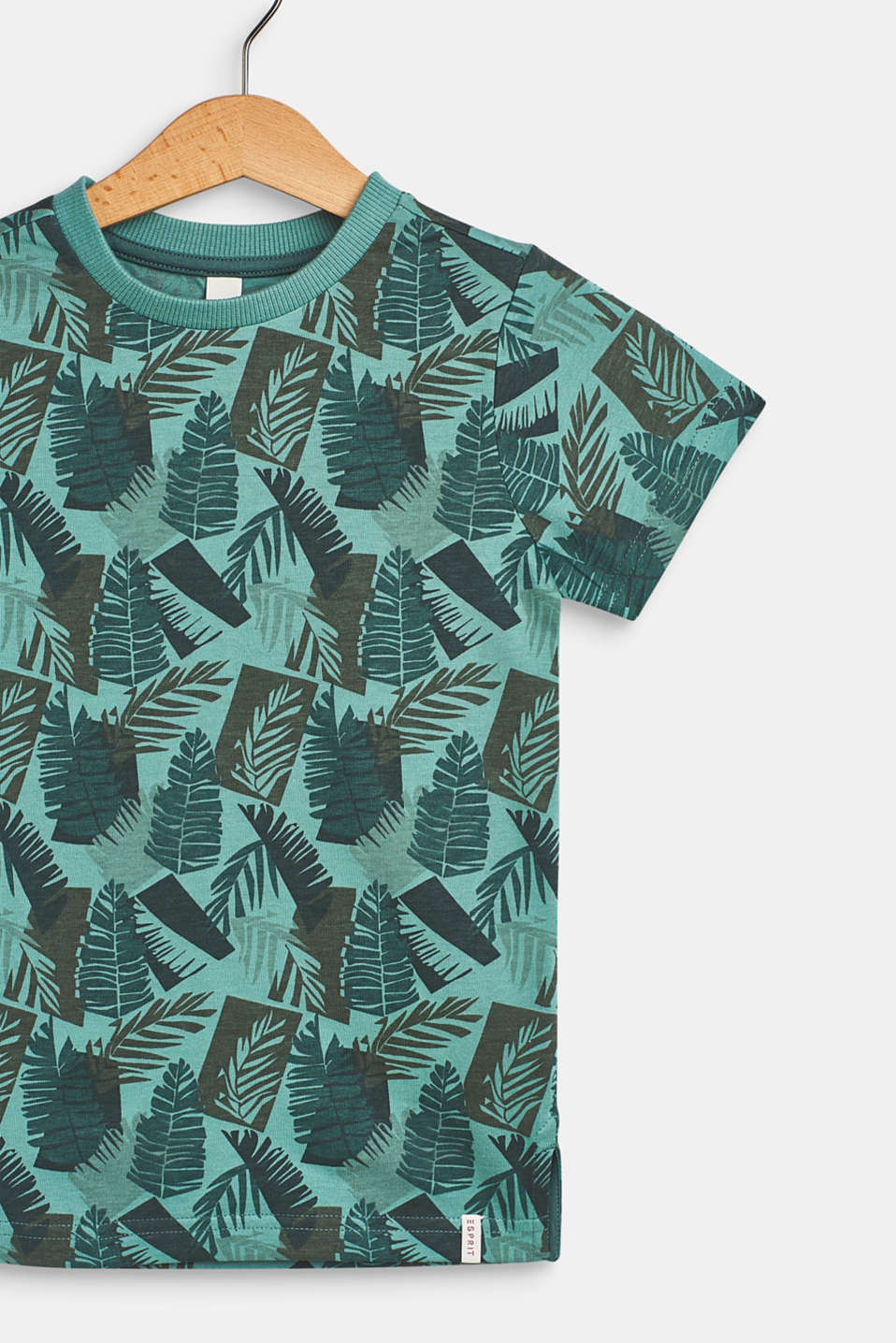 100% cotton T-shirt with a palm leaf print, SOFT GREEN, detail image number 2