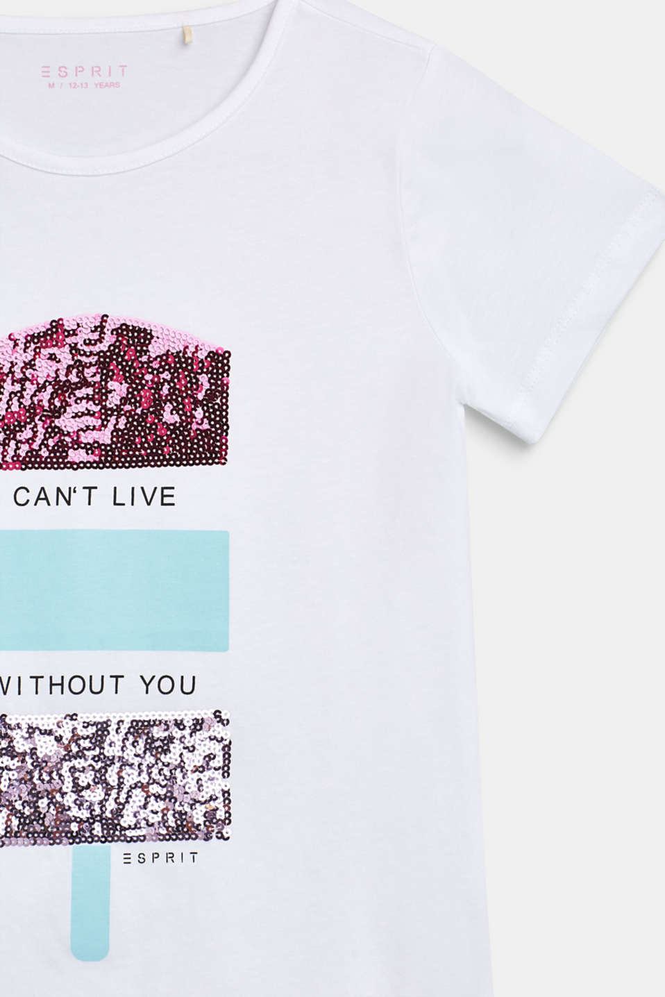 T-shirt with decorative sequins, 100% cotton, LCWHITE, detail image number 2