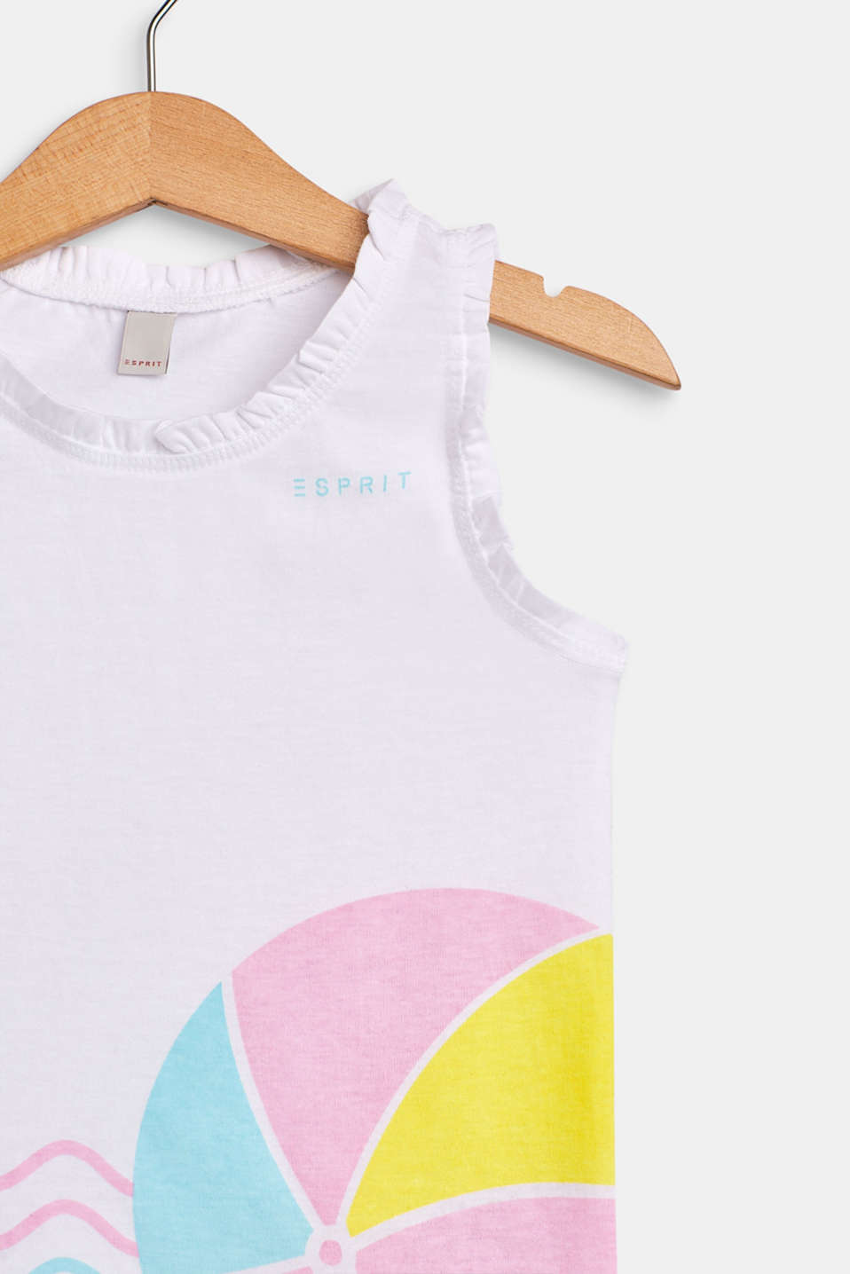 Printed frill detail vest, 100% cotton, WHITE, detail image number 2