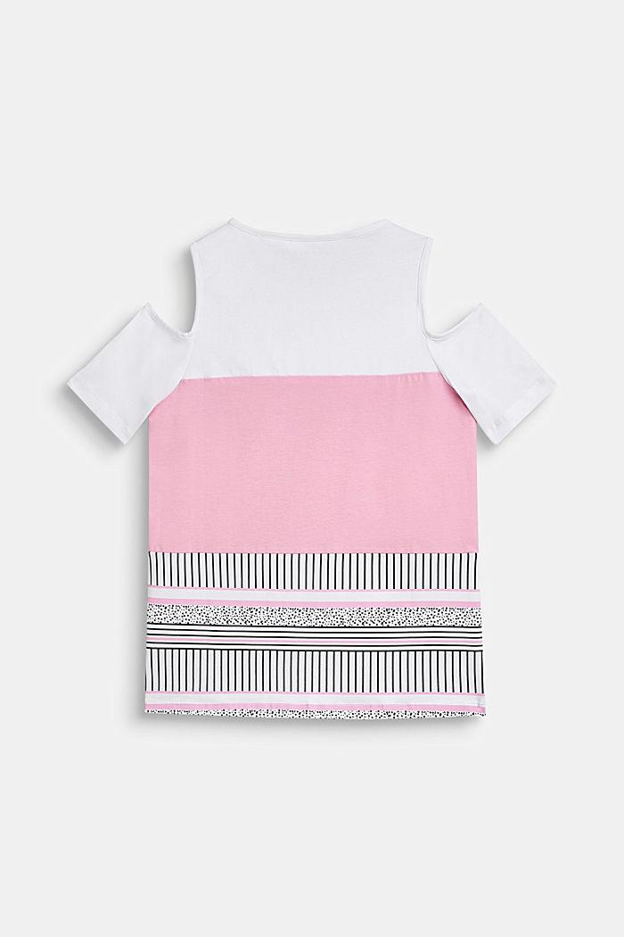 Off-shoulder T-shirt with a colour block design, LCWHITE, detail image number 1