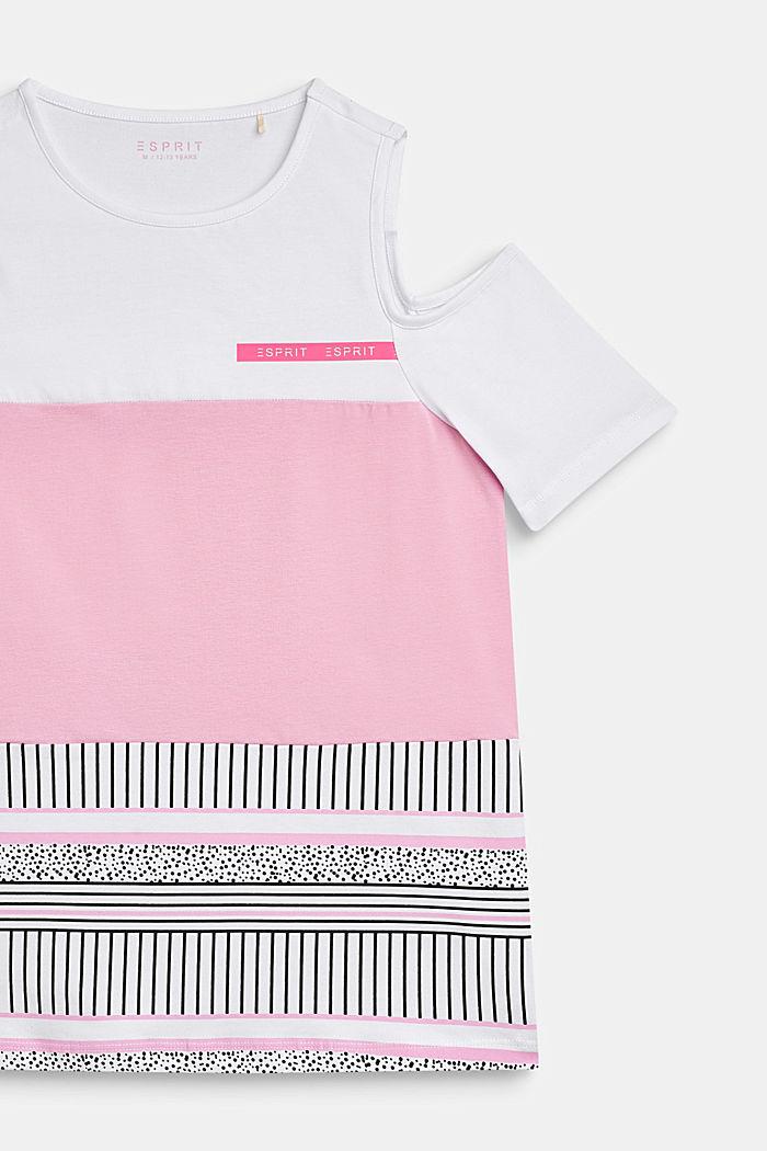 Off-shoulder T-shirt with a colour block design, LCWHITE, detail image number 2