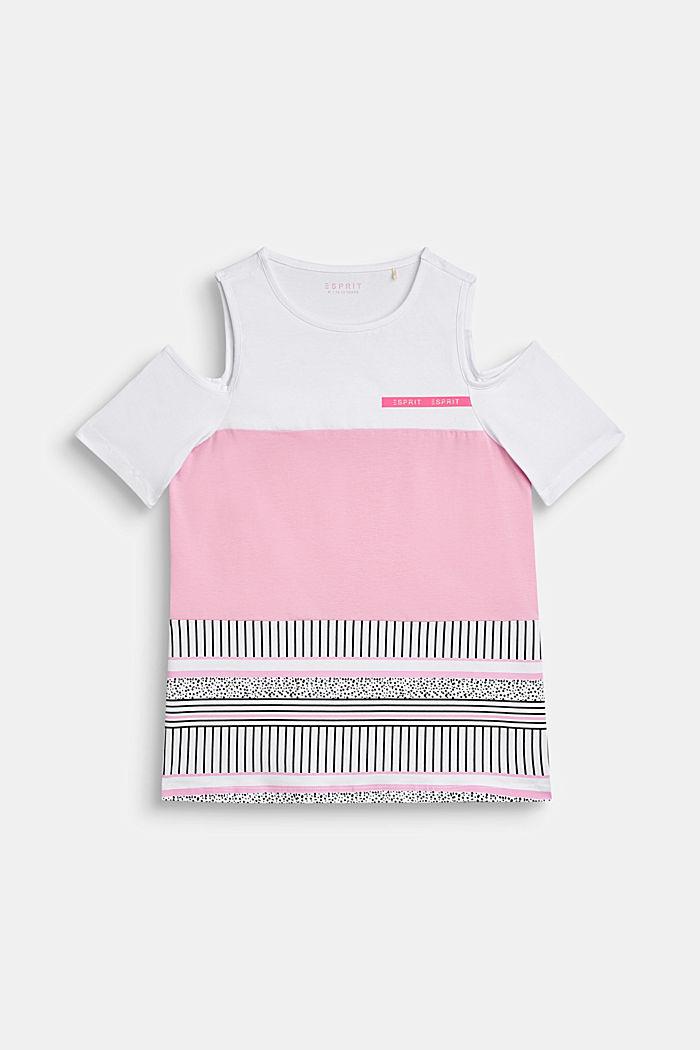 Off-shoulder T-shirt with a colour block design, LCWHITE, detail image number 0