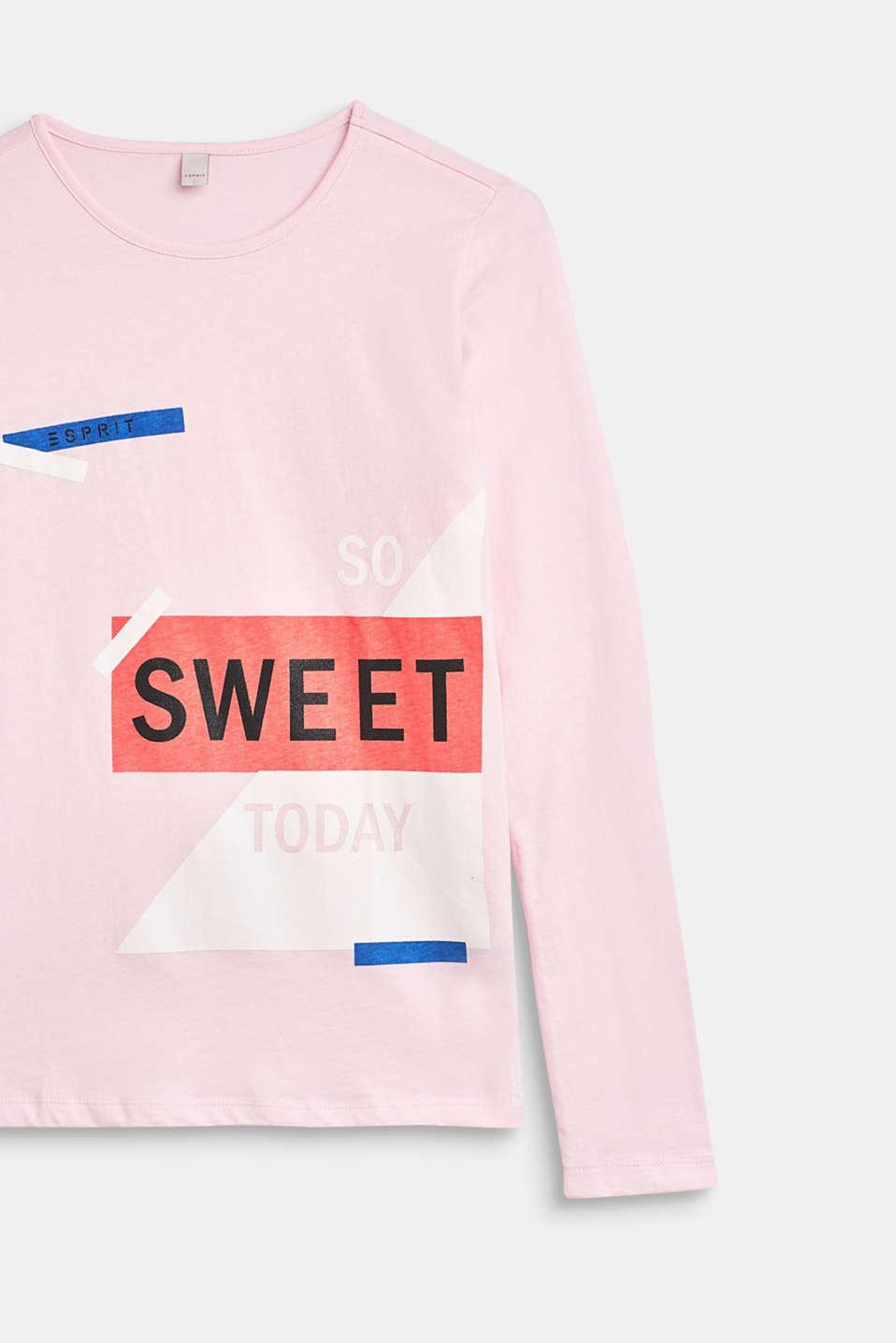 Statement print long sleeve top, 100% cotton, LCBLUSH, detail image number 2