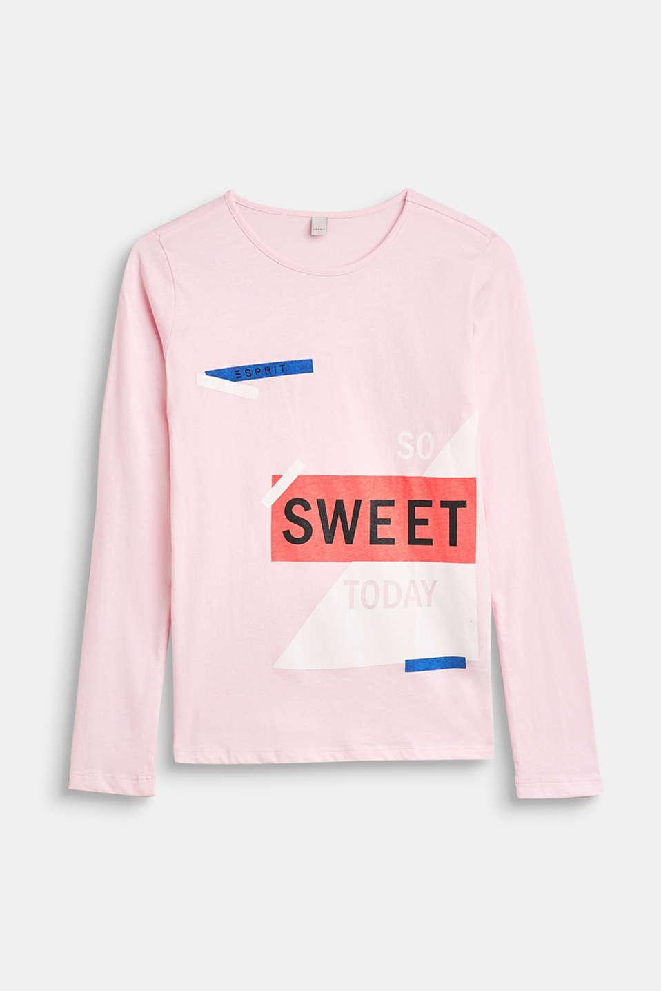 Statement print long sleeve top, 100% cotton, LCBLUSH, detail image number 0