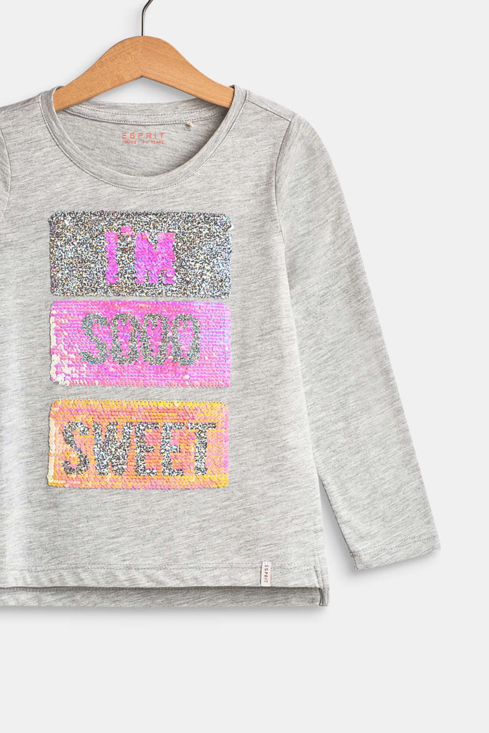 Long sleeve top with reversible sequins, HEATHER SILVER, detail image number 2