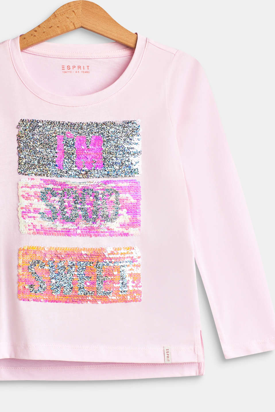 Long sleeve top with reversible sequins, BLUSH, detail image number 3