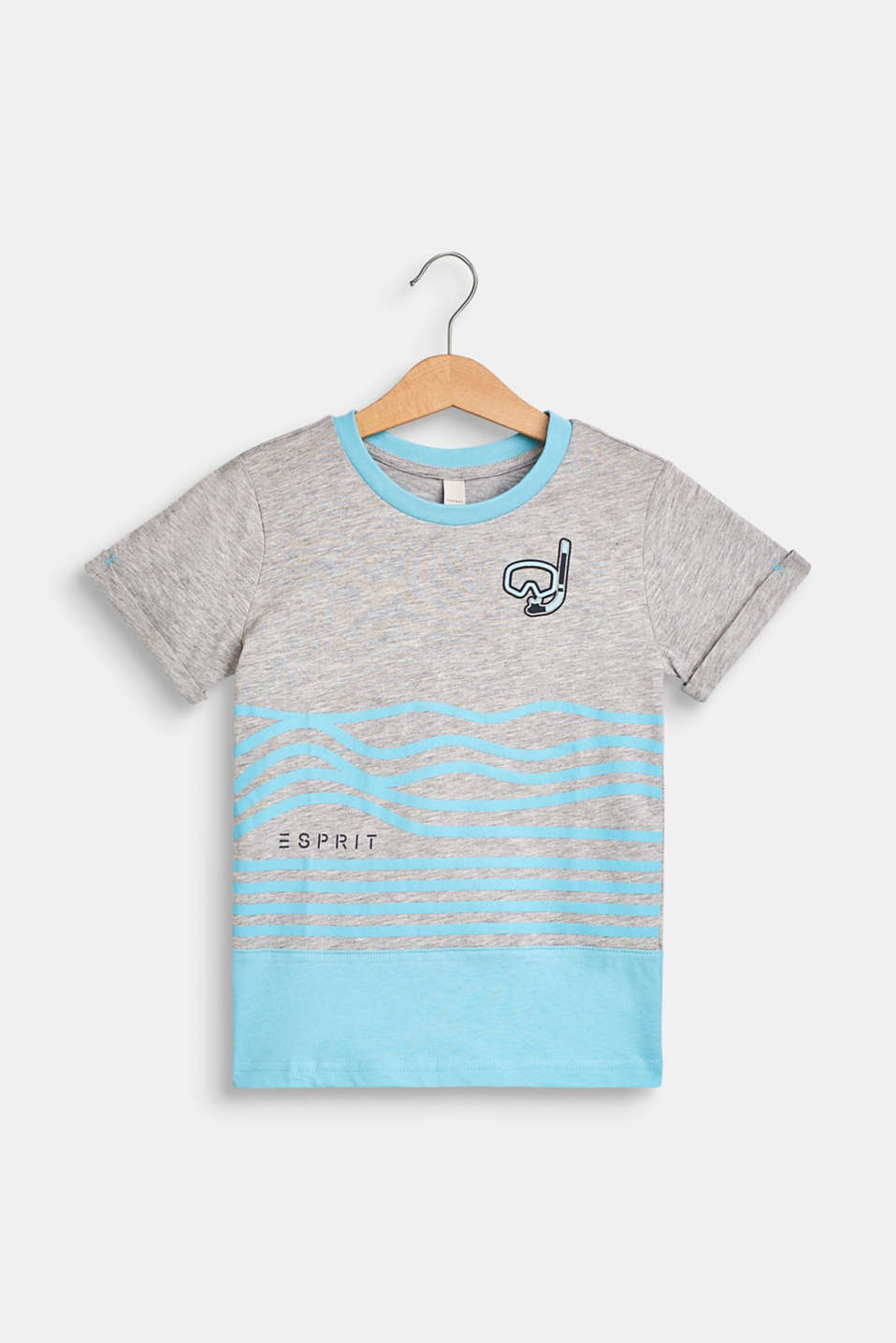 T-shirt with a summer print, 100% cotton, HEATHER GREY, detail image number 0