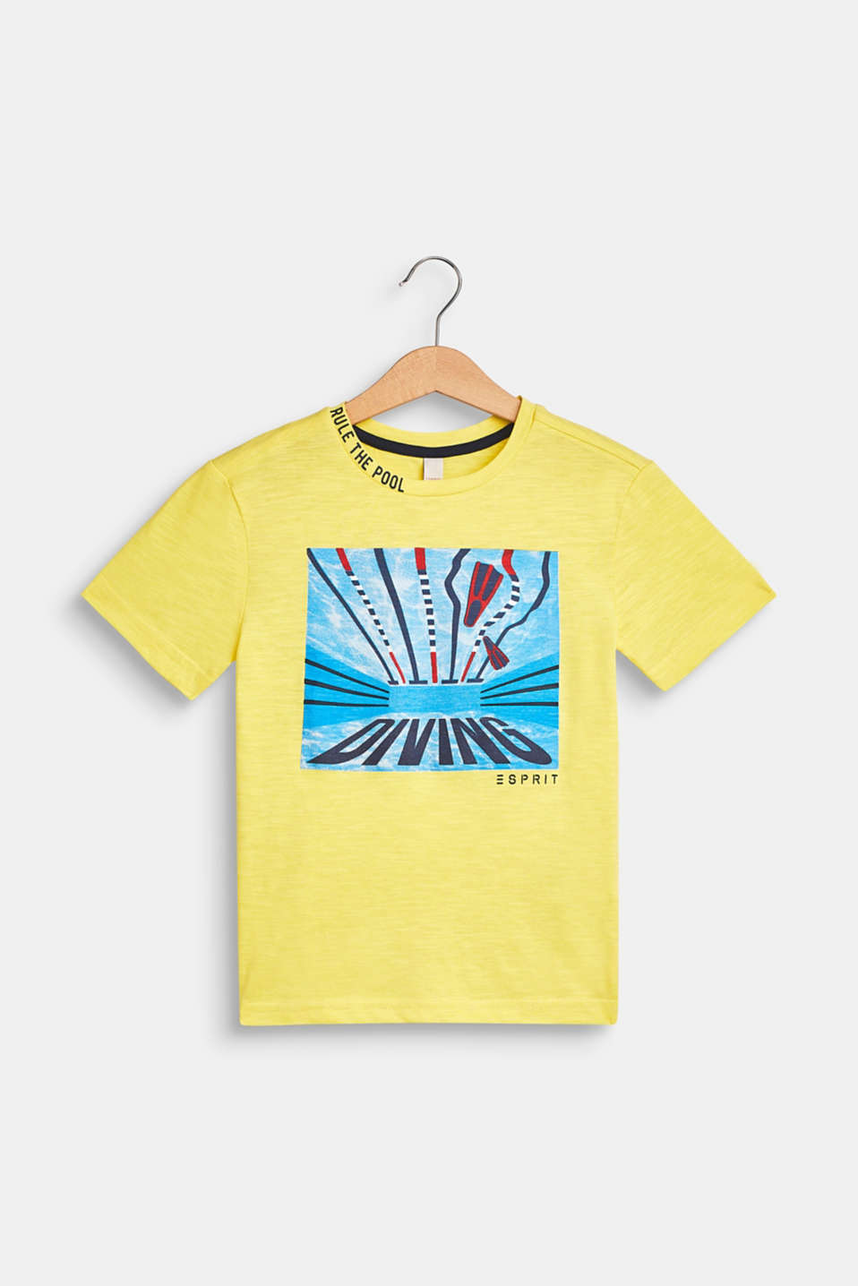 T-shirt with a summer print, 100% cotton, LEMON, detail image number 0