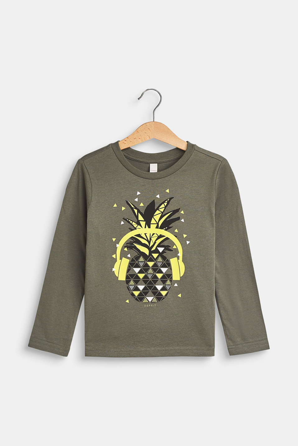 Esprit - Long sleeve top with a pineapple motif, 100% cotton