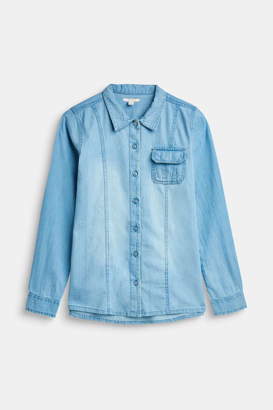 Esprit - Garment-washed denim shirt, 100% cotton