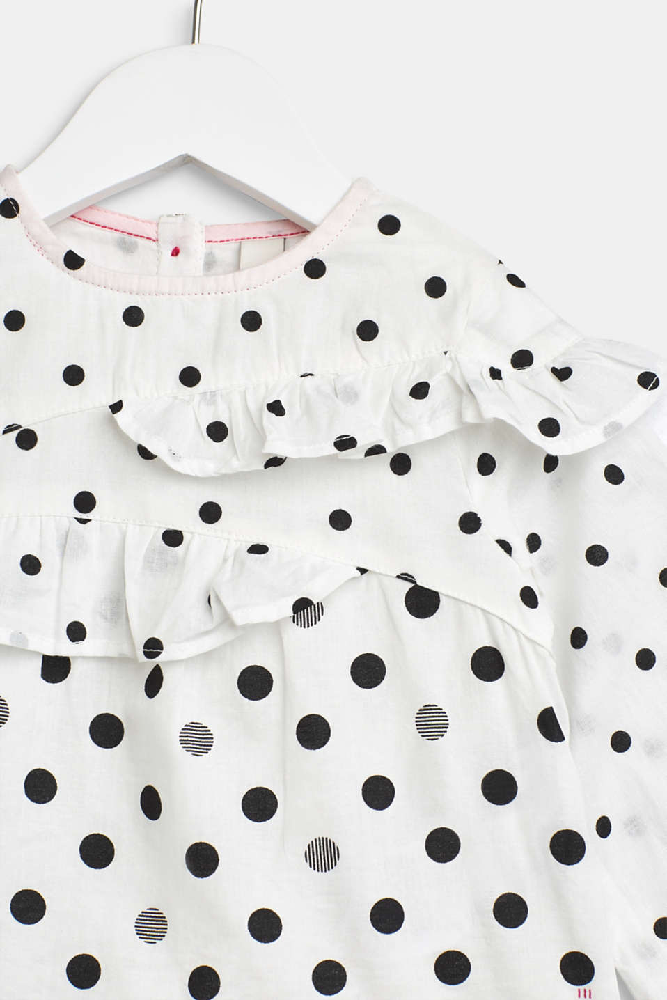 Frill blouse with mixed polka dots, 100% cotton, LCWHITE, detail image number 1