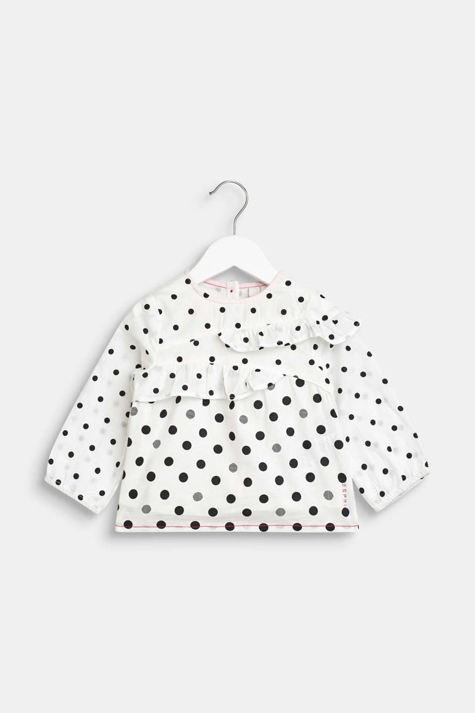 Frill blouse with mixed polka dots, 100% cotton, LCWHITE, detail image number 0
