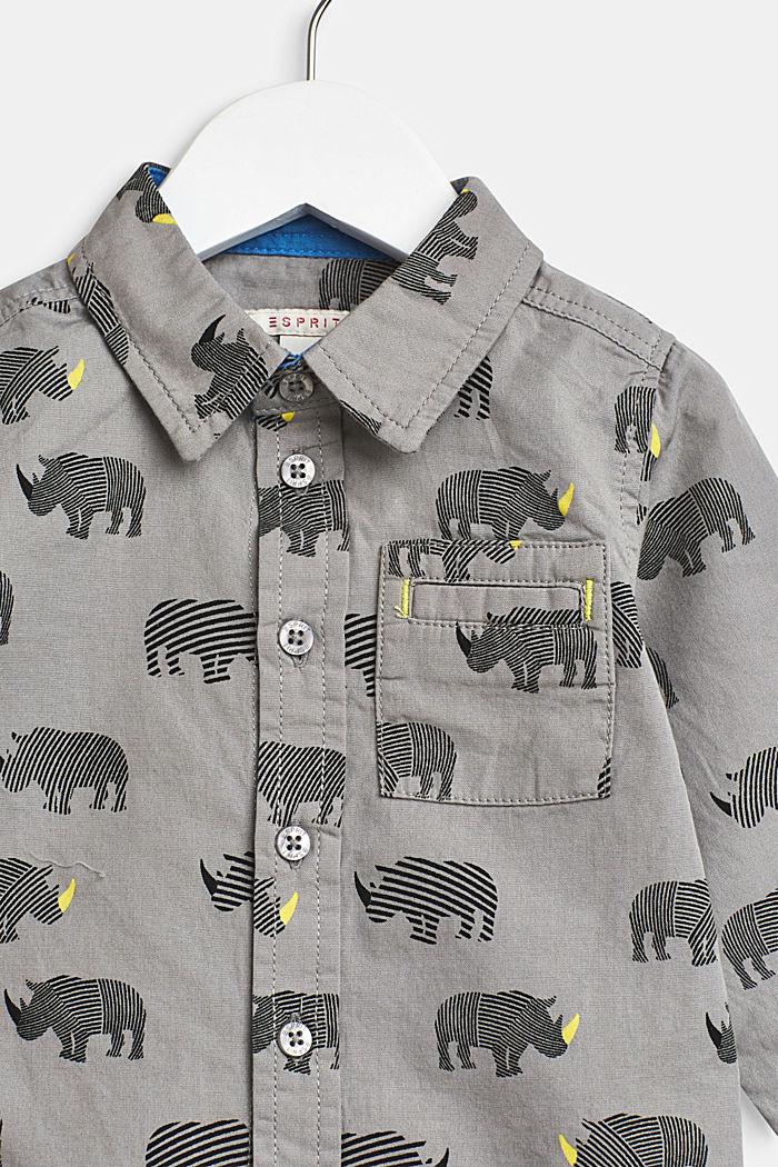 Camisa con estampado de rinoceronte, 100% algodón, LCLIGHT GREY, detail image number 2