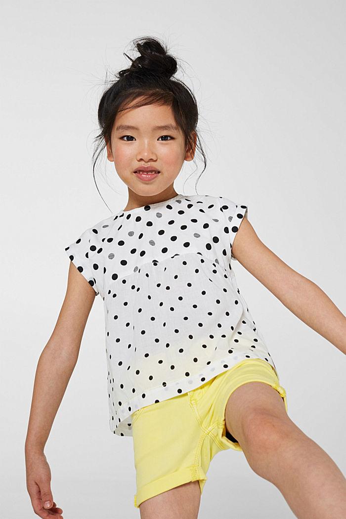 Uitlopende blouse met stippen, 100% katoen, WHITE, detail image number 3