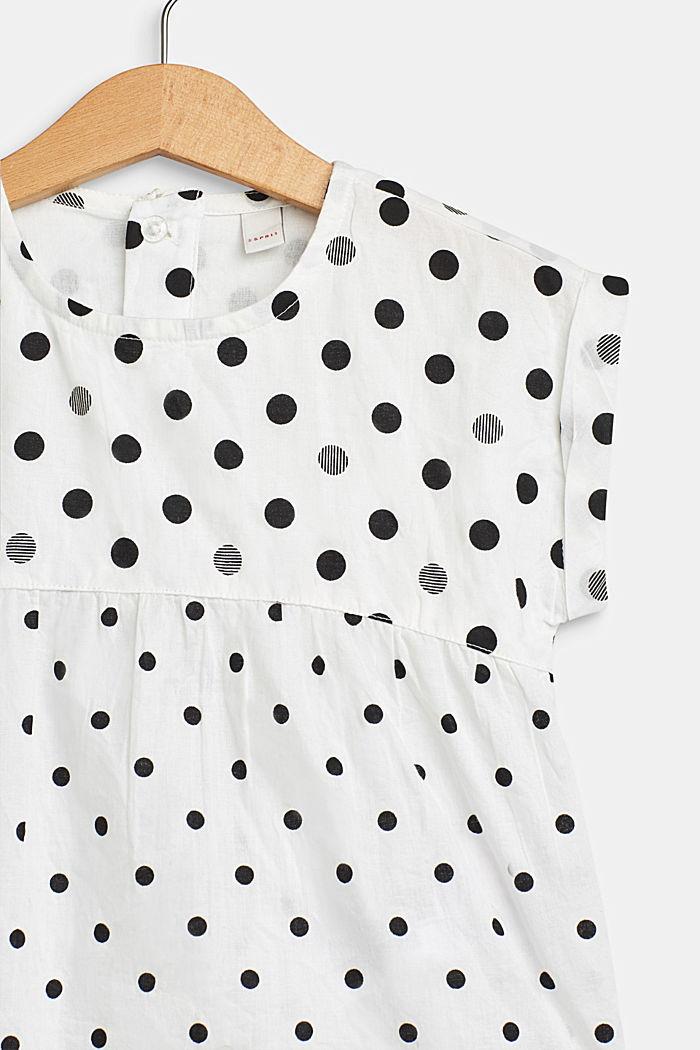 Uitlopende blouse met stippen, 100% katoen, WHITE, detail image number 2