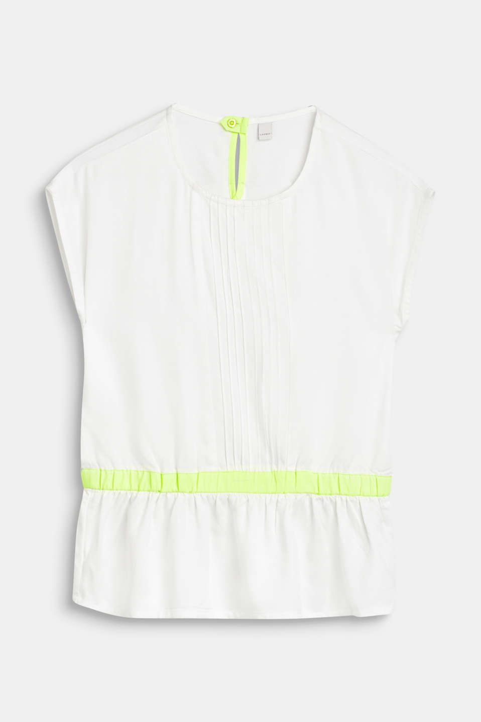 Blouse with pintucks and neon details, LCWHITE, detail image number 0