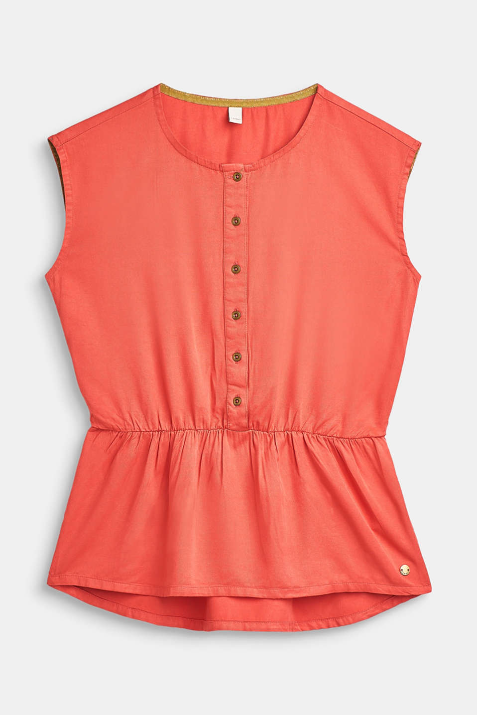 Flowing blouse top with a peplum, LCCORAL, detail image number 0