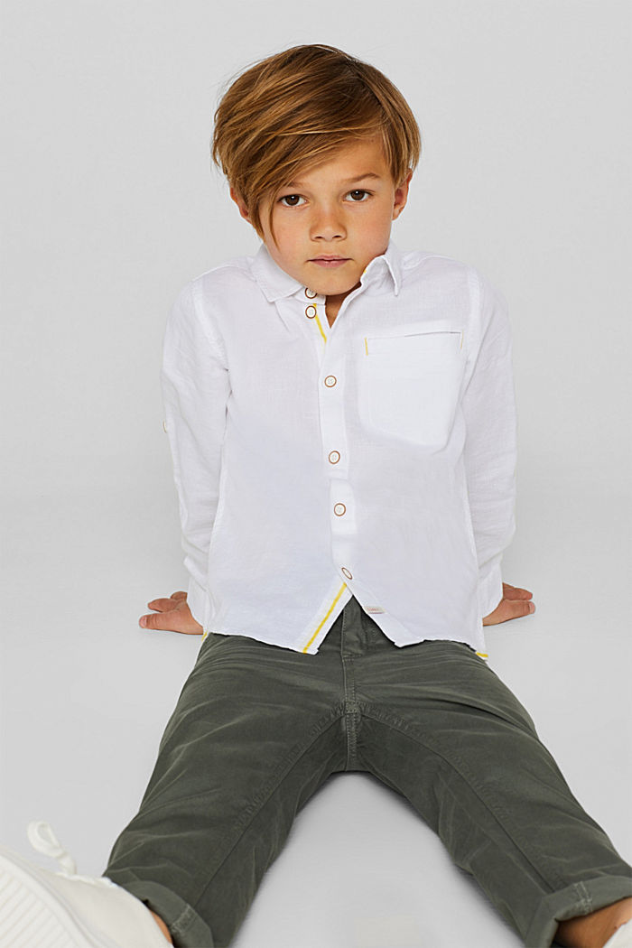 Cotton/linen blend shirt, WHITE, detail image number 2