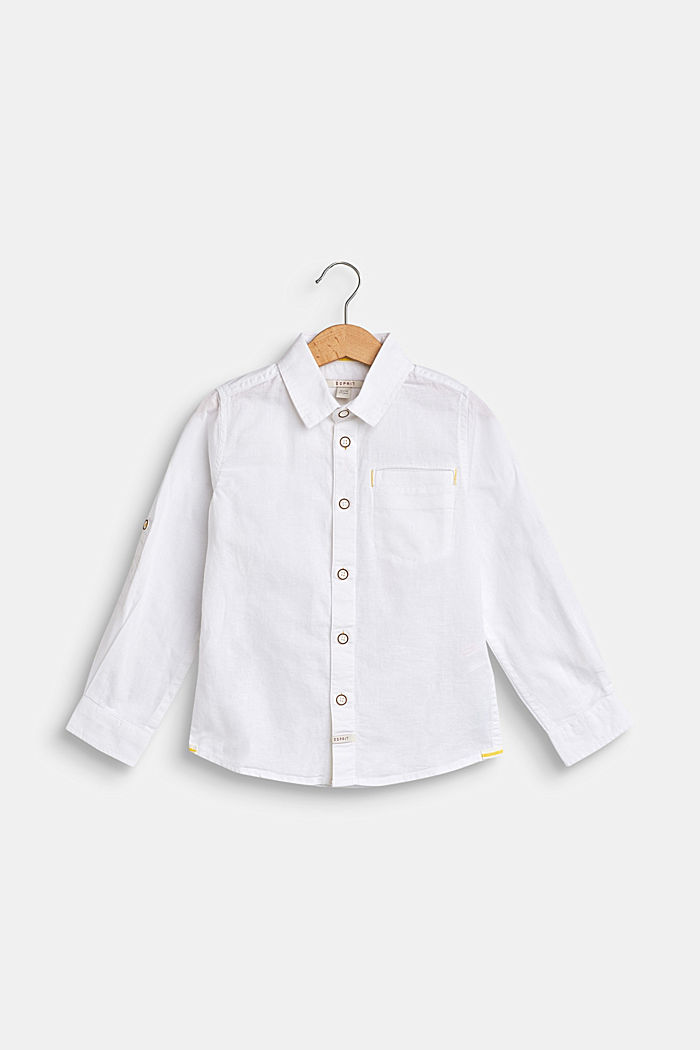Cotton/linen blend shirt, WHITE, detail image number 0