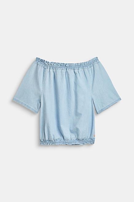 86586d0f9 Blusa de escote Bardot realizada en tejido vaquero de verano, 100% algodón