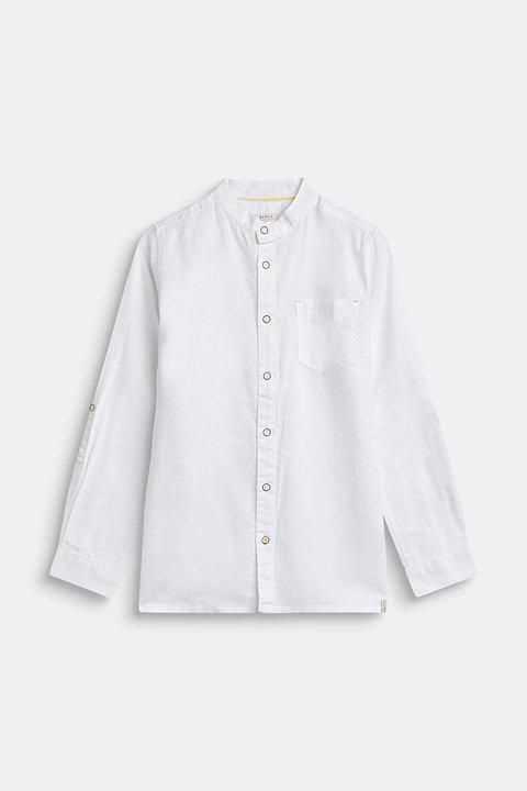 Linen blend: cotton shirt with a granddad collar