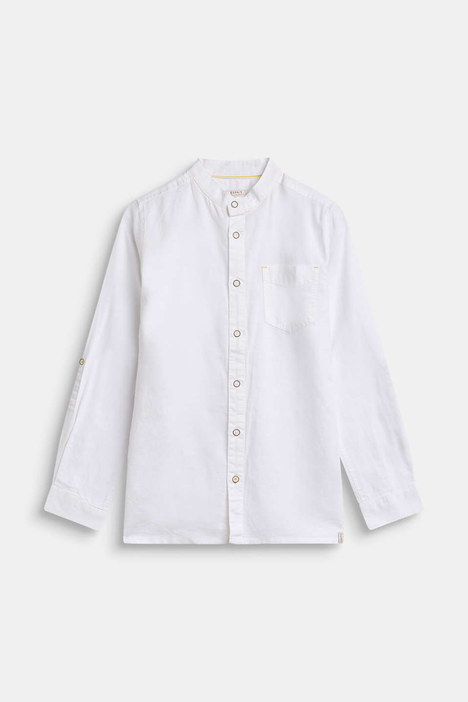 Esprit - Linen blend: cotton shirt with a granddad collar