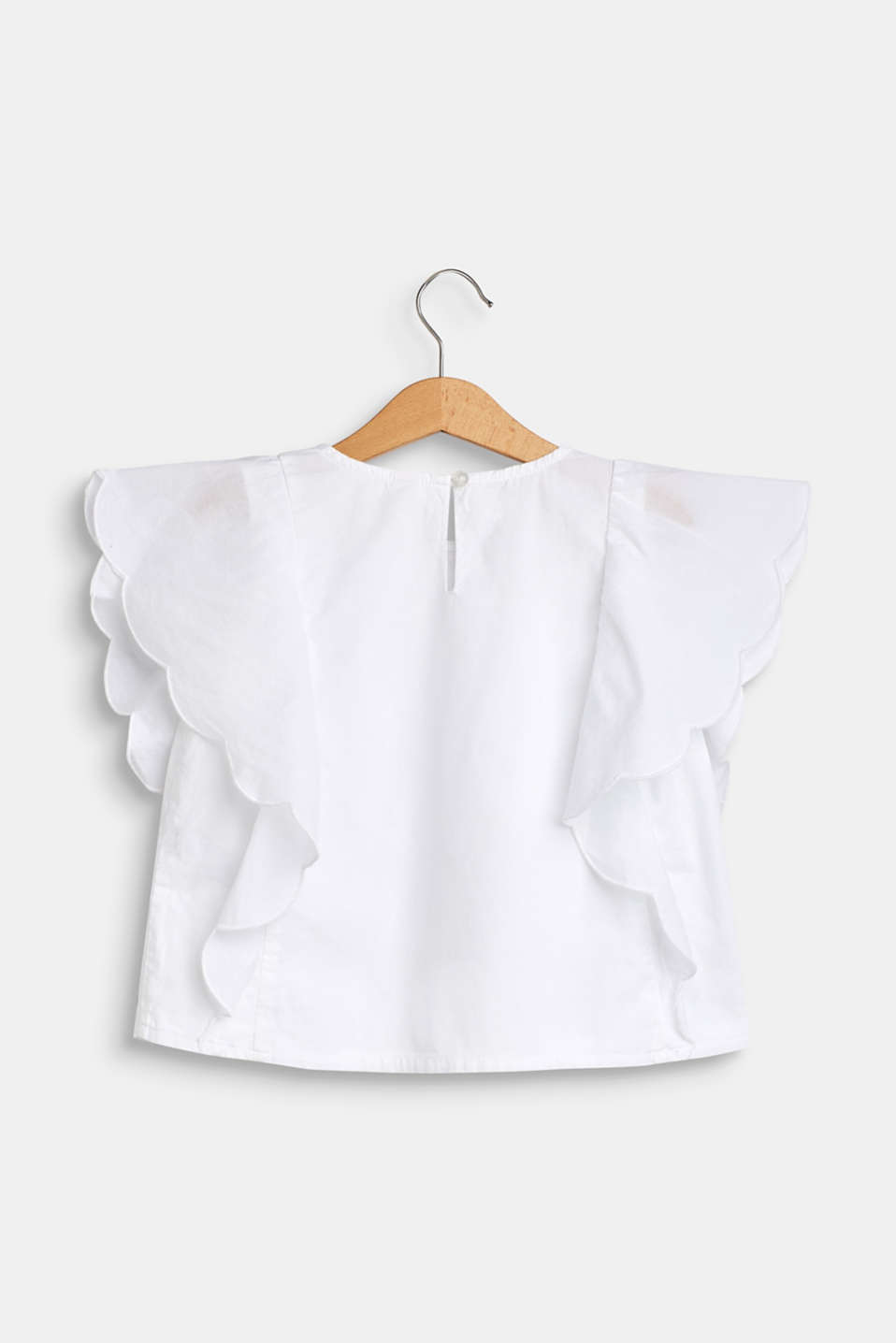 Blouse with flounce sleeves, 100% cotton, WHITE, detail image number 1