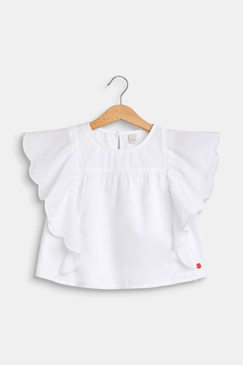 Blouse with flounce sleeves, 100% cotton, WHITE, detail image number 0