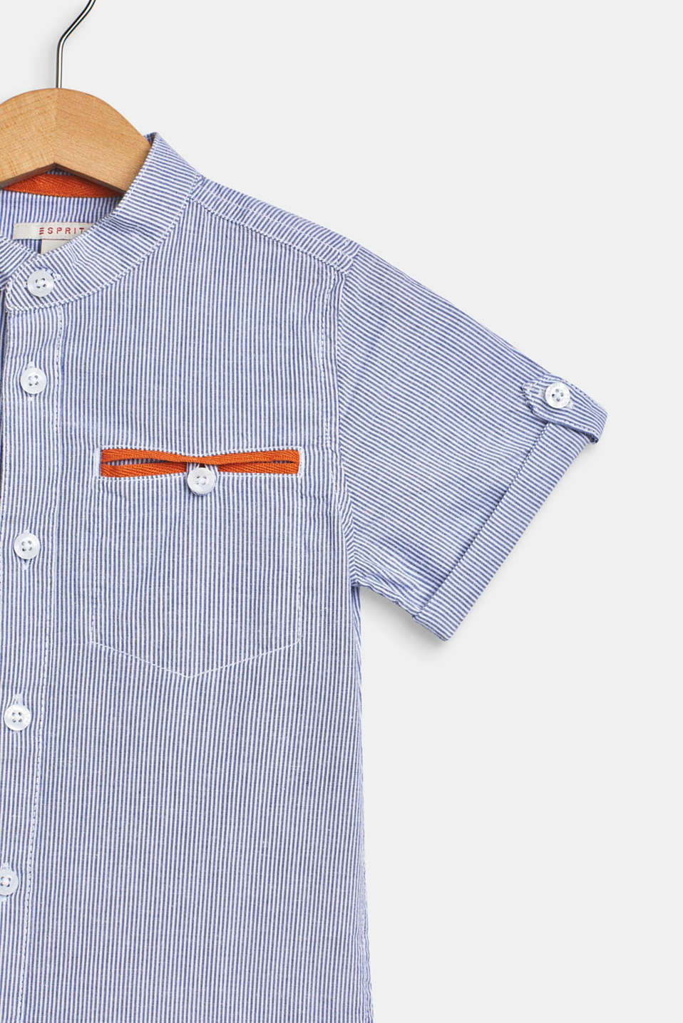 Striped short sleeve shirt, 100% cotton, WHITE, detail image number 2