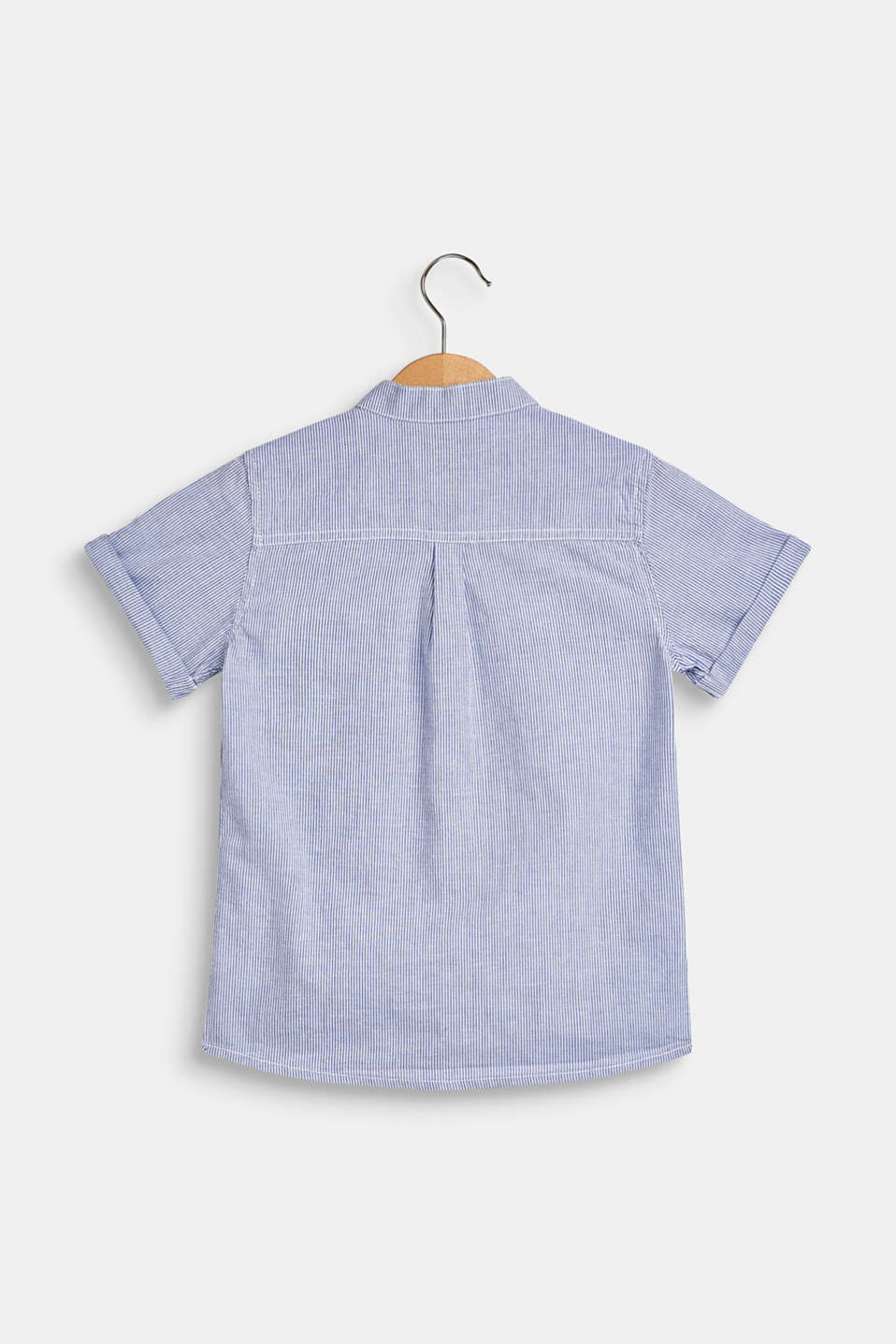 Striped short sleeve shirt, 100% cotton, WHITE, detail image number 1
