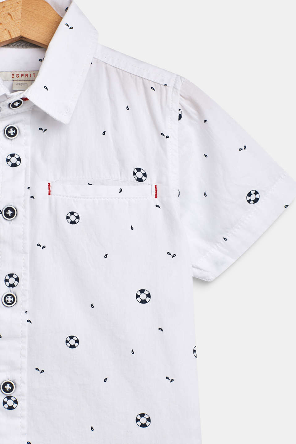 Shirt with a nautical print, 100% cotton, WHITE, detail image number 2