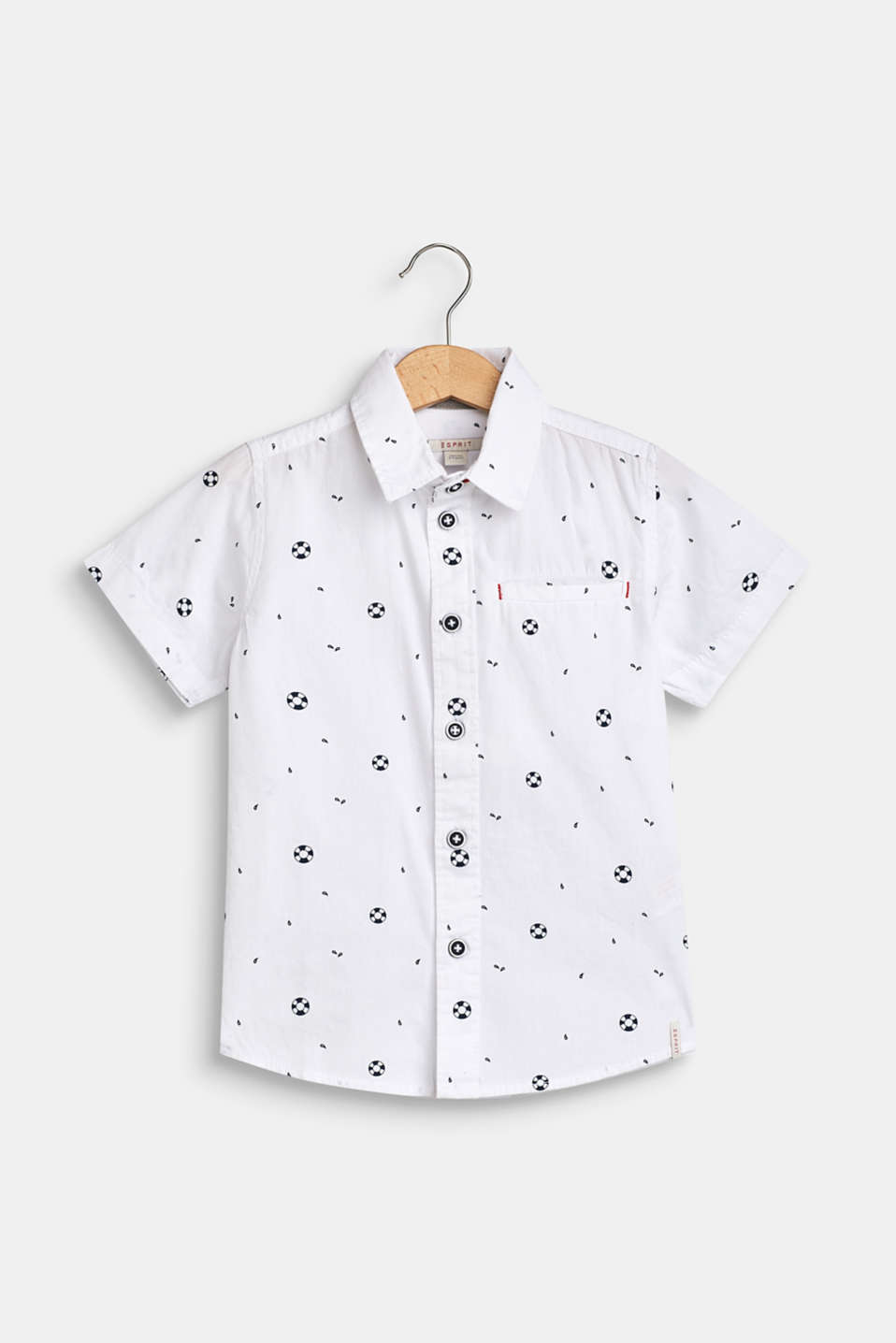 Shirt with a nautical print, 100% cotton, WHITE, detail image number 0