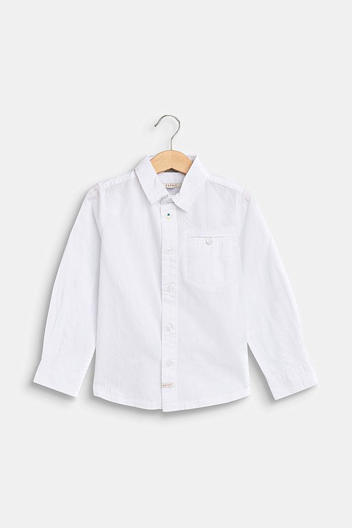 Overhemd met borstzak, 100% katoen, WHITE, detail image number 0