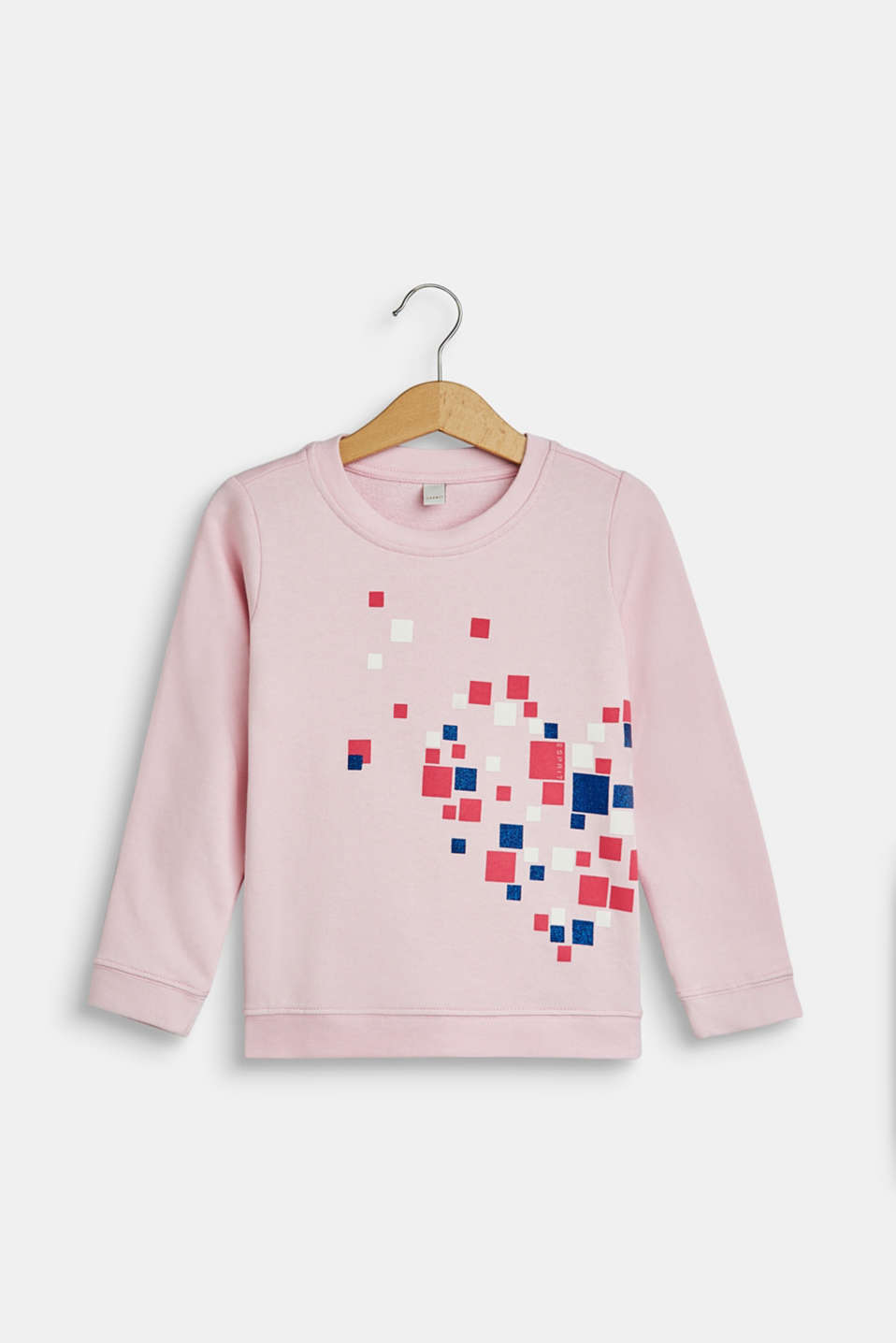 Esprit - Sweatshirt with glitter print, 100% cotton