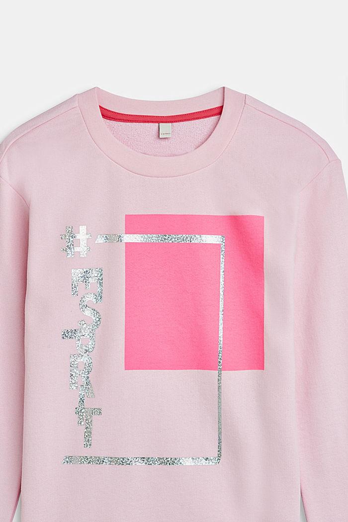 Sweatshirt mit Metallic-Print, 100% Baumwolle, LCLIGHT PINK, detail image number 2