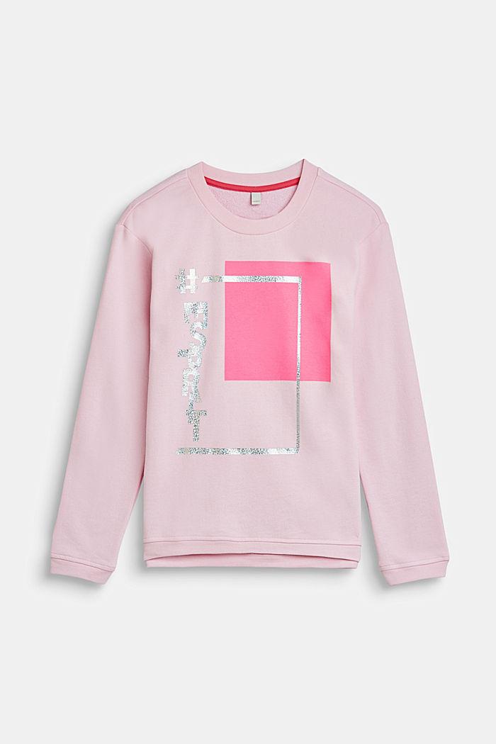 Sweatshirt mit Metallic-Print, 100% Baumwolle, LCLIGHT PINK, detail image number 0