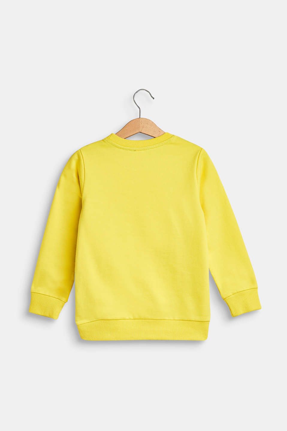 Sweatshirt with statement print, 100% cotton, BRIGHT YELLOW, detail image number 1