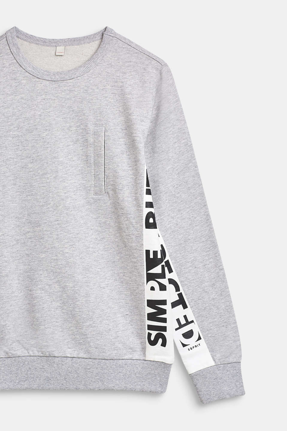 Sweatshirt with printed lettering, 100% cotton, LCHEATHER SILVER, detail image number 3