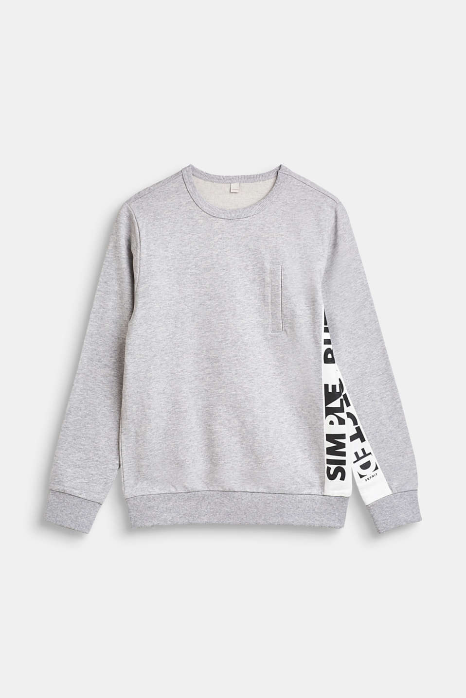 Sweatshirt with printed lettering, 100% cotton, LCHEATHER SILVER, detail image number 0