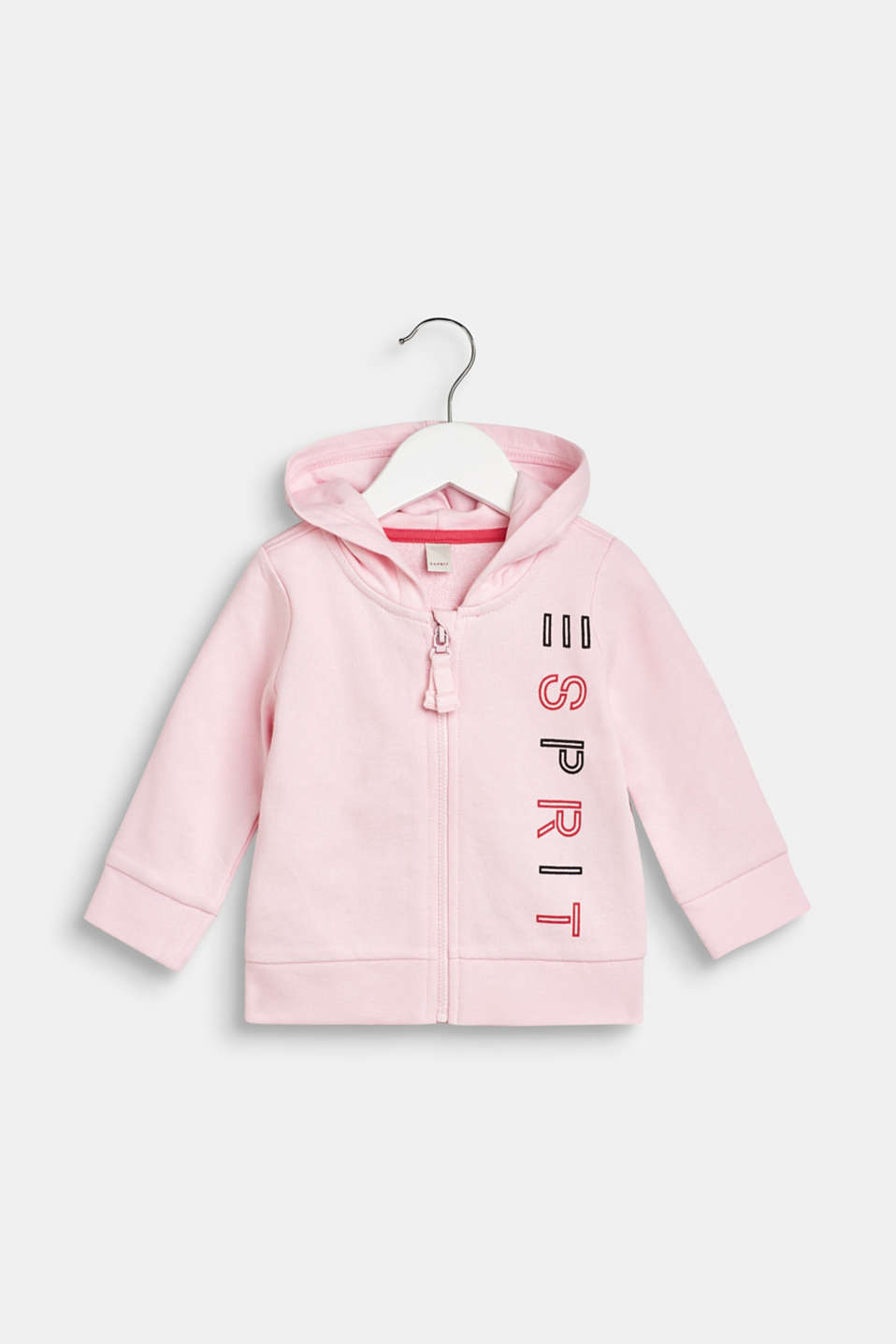 Esprit - Logo cardigan with a hood, 100% cotton