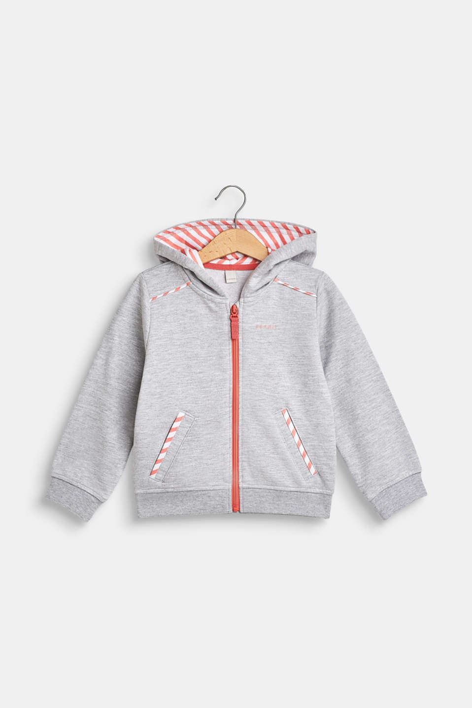 Esprit - Sweatshirt cardigan with a hood and striped details