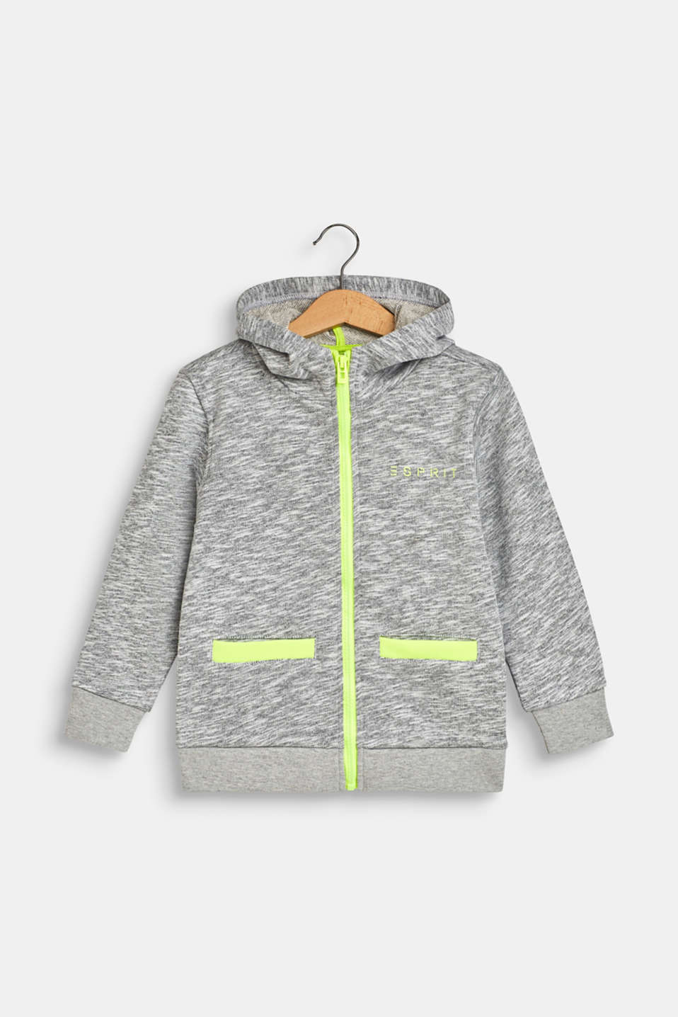 Esprit - Sweatshirt fabric cardigan with neon details, 100% cotton