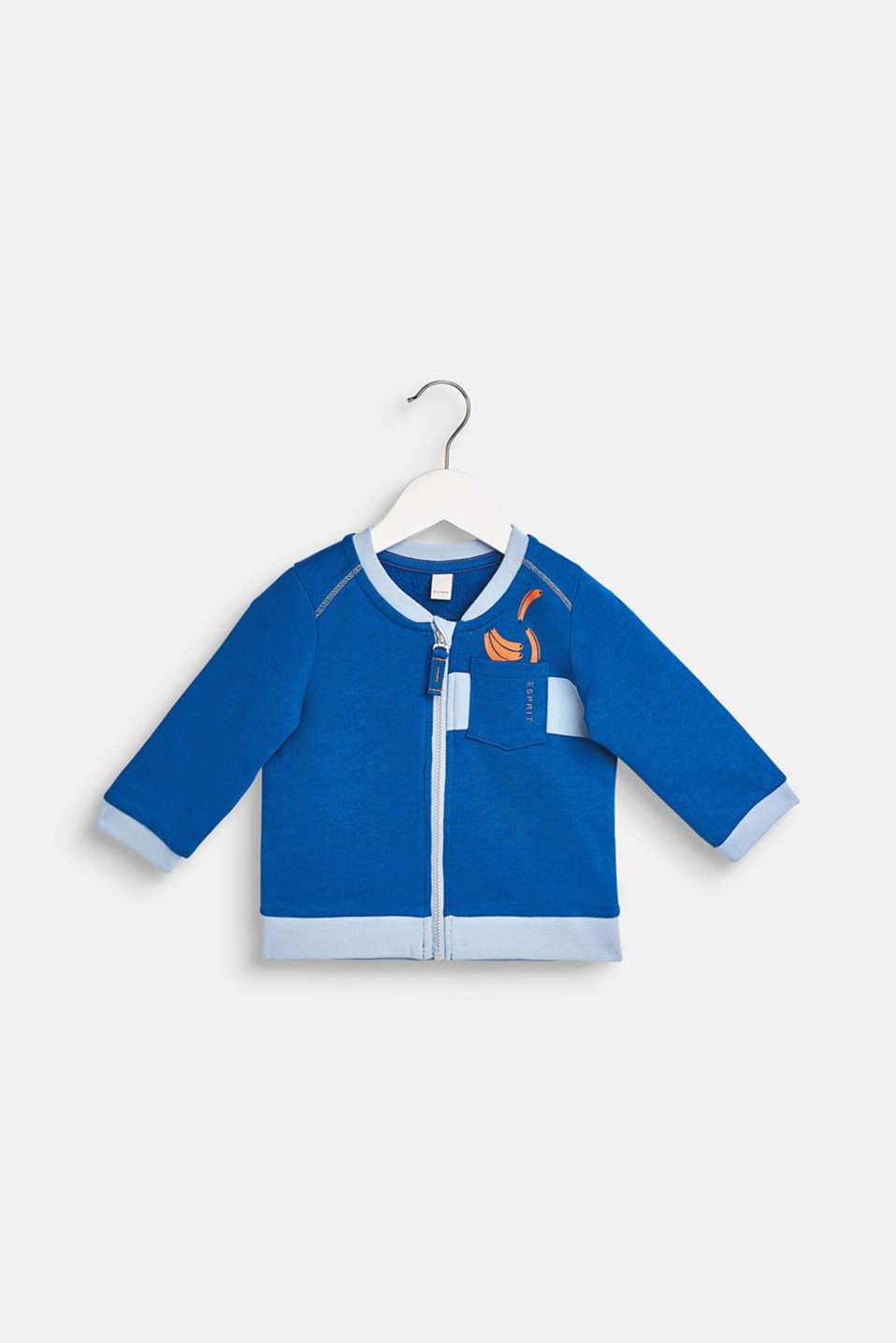 Sweatshirt cardigan in 100% cotton, LCELECTRIC BLUE, detail image number 0