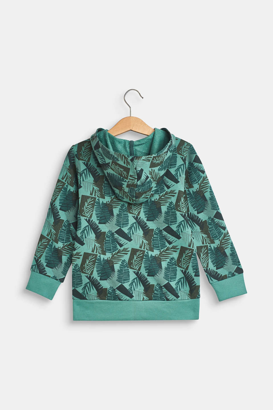 Hoodie with tropical print, 100% cotton, SOFT GREEN, detail image number 1