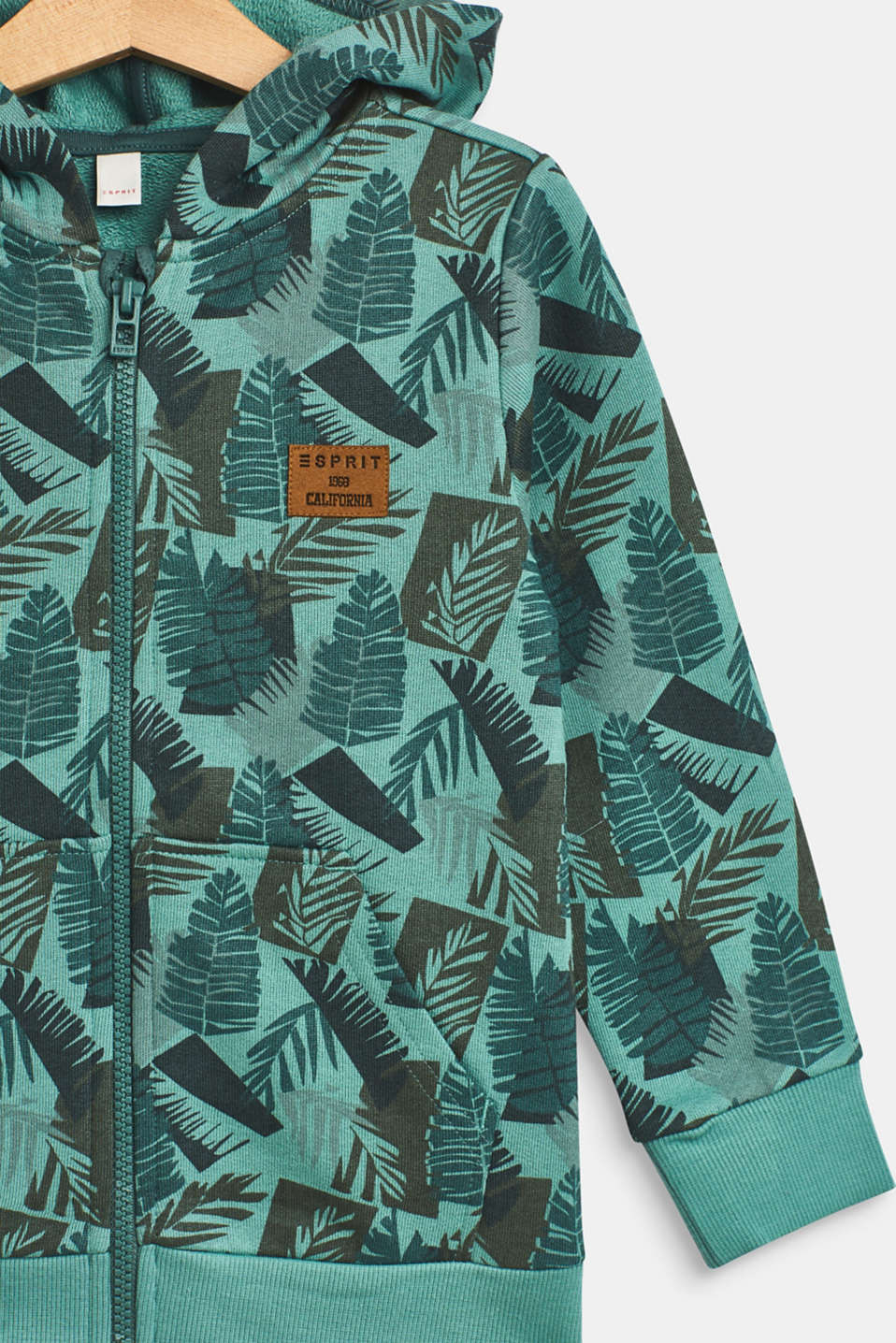 Hoodie with tropical print, 100% cotton, SOFT GREEN, detail image number 2